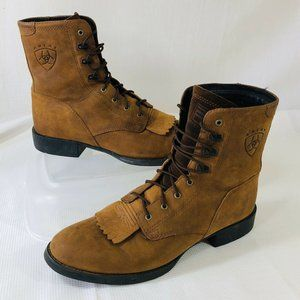 Ariat Heritage Womens 9 B Brown Leather Lace Boots